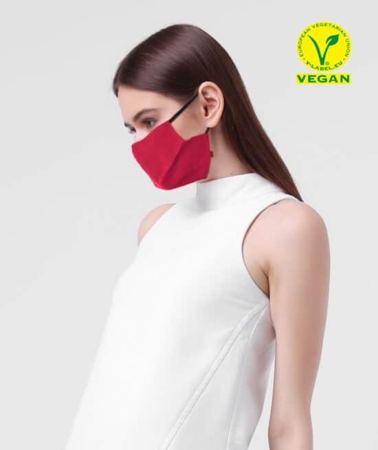 Rote Veganer MNS Maske